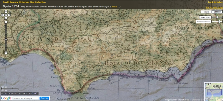 Google Maps David Rumsey Map Spain 1701