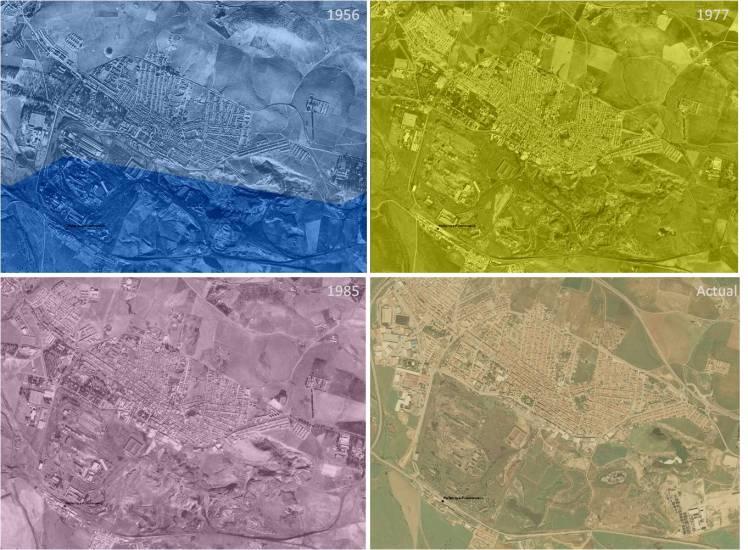 Patrimonio miero industrial Alto Guadiato evolución imágenes aéreas. Fuente Patricia Ferreira Lopes a partir de Ortofotos fornecidas por la Red de Información Ambiental de Andalucía via WMS