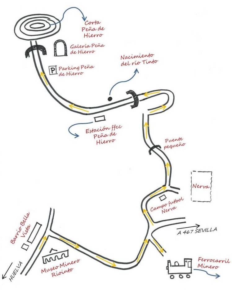 Mapa Museo Minero Riotinto, Peña de Hierro y Ferrocarril Minero