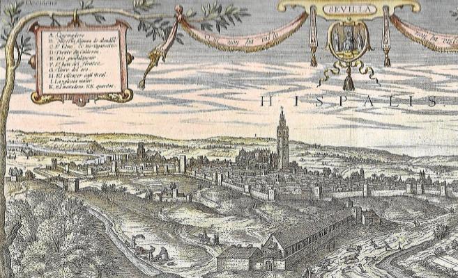 Detalle de la vista de la ciudad de Sevilla en el siglo XVI realizado por Jonis Hoefnagel.