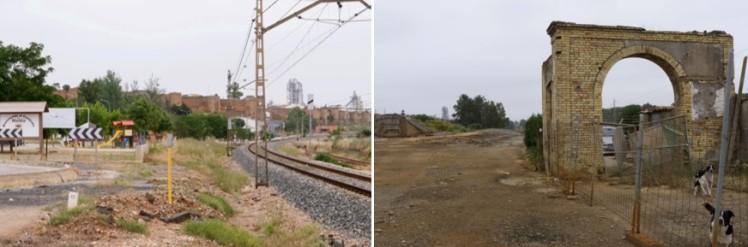 El espacio ferroviario intermedio en el entono al poblado de Niebla. Fuente: Patricia Ferreira Lopes. Mayo 2013. Huelva, España.