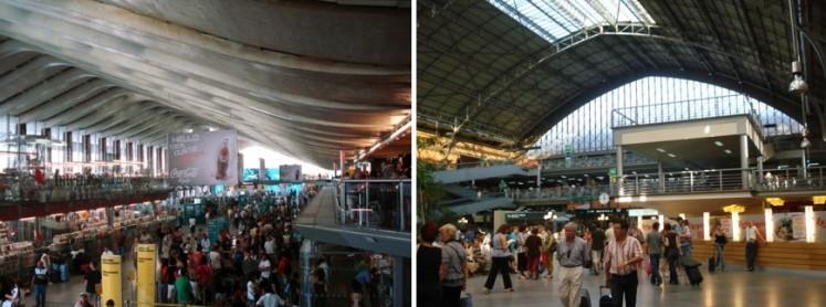Imágenes 02 y 03. Véanse las estaciones de ferrocarril de Roma y Madrid, respectivamente.  Fuente: Patricia Ferreira Lopes. Agosto 2010. Roma y Madrid.