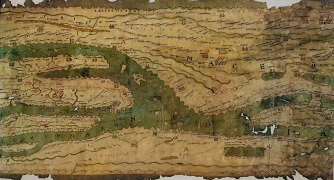 Imagen 01. Tabla Peutingeriana romana (1265). Véase la existencia, ya desde muy temprano, de la relación entre paisaje e infraestructura. Fuente: www.awmc.unc.edu.